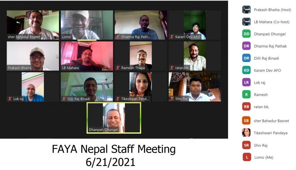 FAYA Nepal Staff Meeting 21 June, 2021